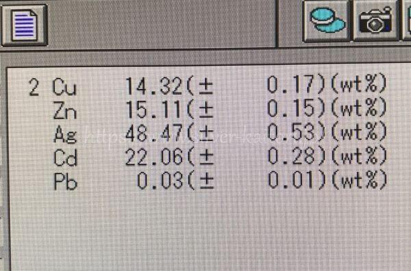 銀ろう分析結果BAg-1