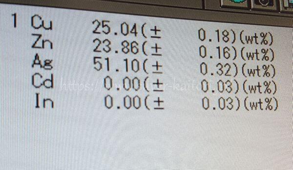 銀ろう分析結果BAg-6