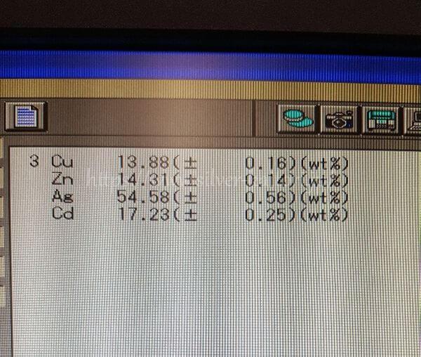 BAg-1A銀ろうの分析結果