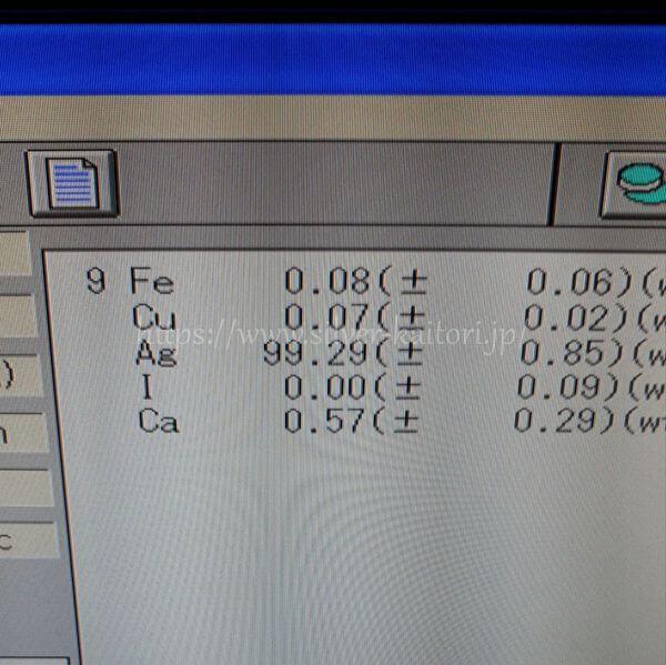 リング状の銀屑の分析結果