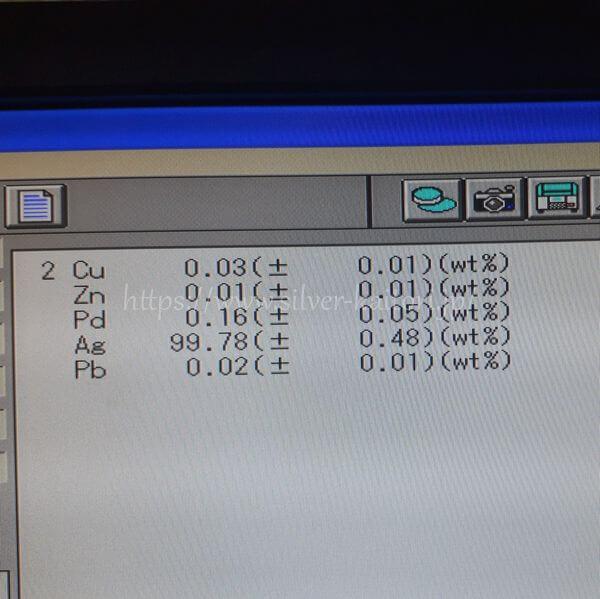純銀板の分析結果