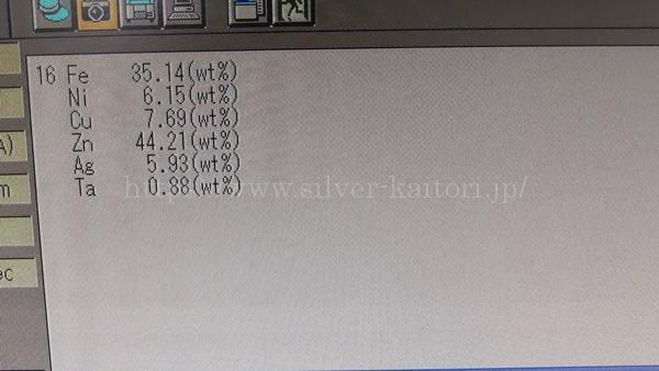 SILVER刻印の皿の分析結果(銀ではない)